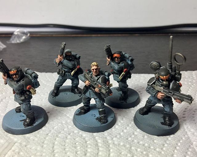 More progress on these 5 vets, skin, shotguns and some highlights on the armor. (While on Vacay :))
